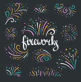 Hand drawn vector colorful fireworks. On dark background Stock Image