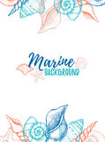 Hand drawn vector colorful illustration - Marine background. Des Stock Photography