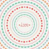 Hand drawn vector colorful line border, frame set Royalty Free Stock Image