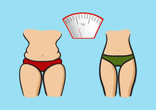 Hand drawn vector. Concept slimming symbol weight loss. Stock Photography