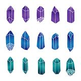 Hand drawn vector crystals set isolated on the white background. Green, blue and purple gemstones. Hand drawn vector crystals set isolated on the white Stock Illustration