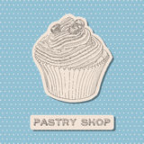 Hand drawn vector cupcake with berry. Stock Image