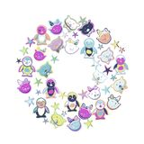 Hand Drawn Vector Cute Kittens, penquins, stars. Stock Images