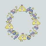 Hand Drawn Vector Cute princess, cup cakes, candy, ice cream, st. Ars. Wreath Stock Images