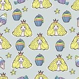 Hand Drawn Vector Cute princess, cup cakes, candy, ice cream, st. Ars.Seamless pattern Stock Photos