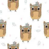 Hand drawn vector Cute seamless pattern with Cute owl Royalty Free Stock Photo