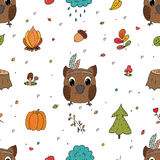 Hand drawn vector Cute seamless pattern with Cute owl Royalty Free Stock Photos