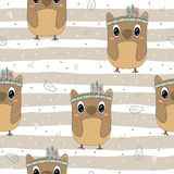 Hand drawn vector Cute seamless pattern with Cute owl Stock Photos