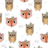 Hand drawn vector Cute seamless pattern with Cute owl nd Fox Stock Image