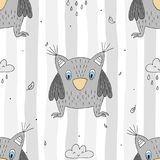 Hand drawn vector Cute seamless pattern with Cute owl.  Stock Photography