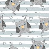 Hand drawn vector Cute seamless pattern with Cute owl.  Royalty Free Stock Photography