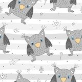 Hand drawn vector Cute seamless pattern with Cute owl.  Royalty Free Stock Photo