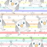 Hand drawn vector Cute seamless pattern with Cute owl.  Royalty Free Stock Photos