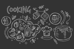 Hand drawn vector design of cooking ingredients and kitchen utensils for preparation dishes. Food and drink. Culinary