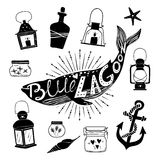 Hand drawn vector design elements. Marine kit Royalty Free Stock Images