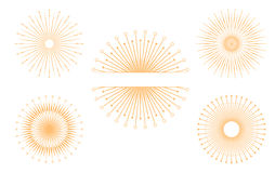 Hand drawn vector design elements. Set of gold bursting rays. Vintage Royalty Free Stock Photography