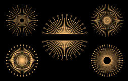 Hand drawn vector design elements. Set of gold bursting rays Stock Images