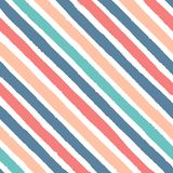 Hand drawn vector diagonal grunge stripes of red, blue, green and yellow colors seamless pattern. On the white background Royalty Free Stock Photos