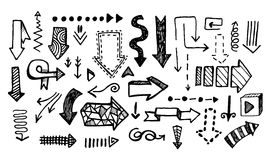 Hand drawn vector doodle arrow collection isolated Stock Photos