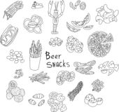 Hand drawn vector doodle of beer snacks. Hand drawn vector doodle illustration of beer snacks. Set of cute doodle foods for beer. For cards, prints or design vector illustration