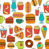Hand drawn vector doodle icons for fast food menu. Hand drawn doodle icons for fast food menu Vector linear images Royalty Free Stock Images