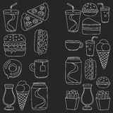 Hand drawn vector doodle icons for fast food menu,. Hand drawn doodle icons for fast food menu Vector linear images Stock Photos