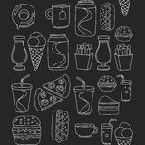 Hand drawn vector doodle icons for fast food menu, restaraunt. Hand drawn doodle icons for fast food menu Vector linear images Royalty Free Stock Photography