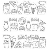 Hand drawn vector doodle icons for fast food menu, restaraunt. Hand drawn doodle icons for fast food menu Vector linear images Royalty Free Stock Photo