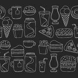 Hand drawn vector doodle icons for fast food menu, restaraunt. Hand drawn doodle icons for fast food menu Vector linear images Royalty Free Stock Image