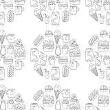 Hand drawn vector doodle icons for fast food menu, restaraunt. Hand drawn doodle icons for fast food menu Vector linear images Stock Images