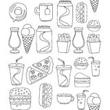 Hand drawn vector doodle icons for fast food menu, restaraunt. Hand drawn doodle icons for fast food menu Vector linear images Stock Image