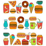 Hand drawn vector doodle icons for fast food menu, restaraunt. Hand drawn doodle icons for fast food menu Vector linear images stock illustration