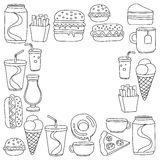 Hand drawn vector doodle icons for fast food menu, restaraunt. Hand drawn doodle icons for fast food menu Vector linear images Royalty Free Stock Images