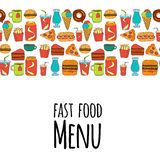 Hand drawn vector doodle icons for fast food menu, restaraunt. Hand drawn doodle icons for fast food menu Vector linear images Stock Photography