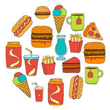 Hand drawn vector doodle icons for fast food menu, restaraunt. Hand drawn doodle icons for fast food menu Vector linear images royalty free illustration