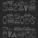 Hand drawn vector doodle icons for fast food menu, restaraunt. Hand drawn doodle icons for fast food menu Vector linear images Stock Photos