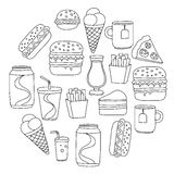 Hand drawn vector doodle icons for fast food menu, restaraunt. Hand drawn doodle icons for fast food menu Vector linear images Royalty Free Stock Photos