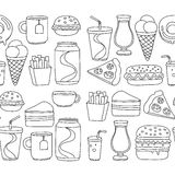 Hand drawn vector doodle icons for fast food menu, restaraunt. Hand drawn doodle icons for fast food menu Vector linear images Stock Photo
