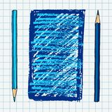 Hand drawn blue pencil frame. Hand drawn vector doodle illustration blank frame. Blue pencils and strokes art border over squared notebook page Royalty Free Stock Images