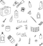 Hand drawn vector doodle illustration of first aid supplies. vector illustration