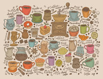 Hand drawn vector doodle set coffee Royalty Free Stock Photography