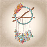 Hand drawn Vector Dreamcatcher. T-shirts print or tattoo Royalty Free Stock Image