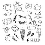 Hand Drawn vector elements - Good night Stock Images