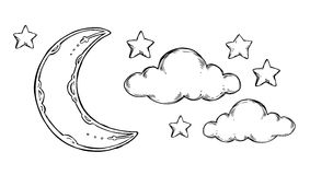 Hand Drawn vector elements - Good night sleeping moon, stars, c. Louds. Illustrations in sketch style. Perfect for prints, postcards, posters etc Royalty Free Stock Images