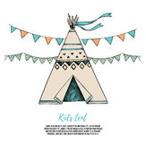 Hand Drawn vector elements - Kids tent with garlands.  Royalty Free Stock Image