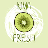Hand Drawn Vector Elements. Kiwi Fruit. Fresh. Logo. Can be used for ads, signboards, identity and web designs Stock Photo
