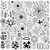 Hand drawn vector elements. Nature vector elements collection. Summer isolated hand drawn different items. Design for T-shirt, textile and prints Stock Photo