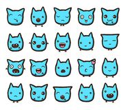 Hand drawn vector emoticons collection. Isolated emoticons on white background Royalty Free Stock Photography