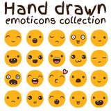 Hand drawn vector emoticons collection. Isolated emoticons on white background Stock Photography