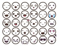 Hand drawn vector emoticons collection. Isolated emoticons on white background Stock Image